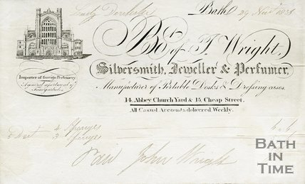 Trade Card for I. WRIGHT 14 Abbey Church Yard & 15 Cheap Street, Bath 1838