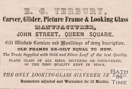 Trade Card for E. G. YERBURY John Street, Queen Square, Bath 19??