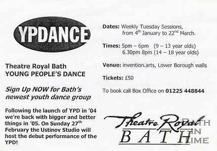 Trade Card for YOUNG People's Dance Theatre Royal, Bath 2005