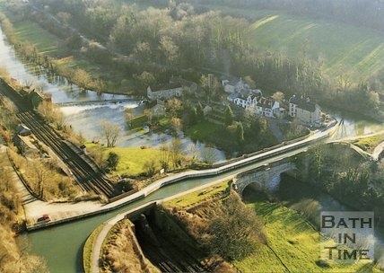 Aerial view of Avoncliff Aqueduct, near Bath, c.1990