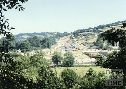 Batheaston Bypass Under Construction, From Bathampton Down, 1995