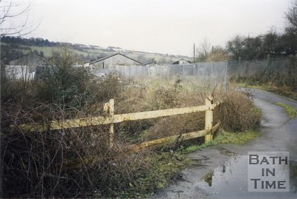 Midsomer Norton, Somerset, Somer Garage Site Fence and Road, March 1996