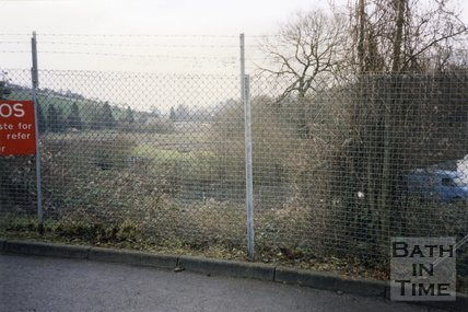 Midsomer Norton, Somerset, Somer Garage Site, Fence and Fields, March 1996