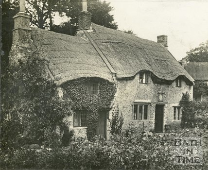 Newton St. Loe, near Bath, Thatched Cottages, c.1900