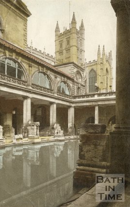 Roman Baths and Bath Abbey, c.1940s