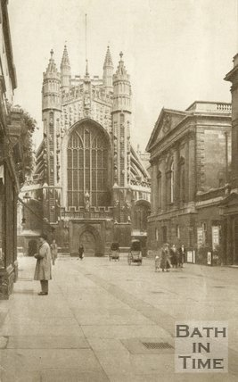 The West Door of Bath Abbey from Abbey Church Yard, Bath, c.1940s