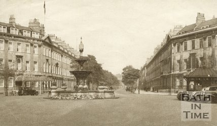 Laura Place and fountain, Great Pulteney Street, Bath, c.1940s