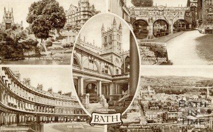 A Multi-view postcard of Bath, c.1940s
