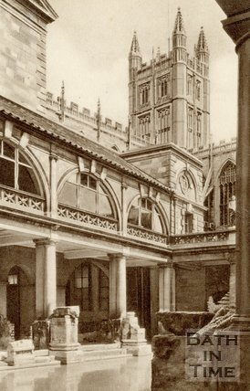 The Roman Baths and Bath Abbey, c.1940s