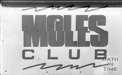The Entrance sign for Moles Club, George Street, Bath, August 1987