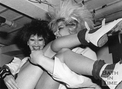 Revellers enjoying Geisha Night at Moles, George Street, Bath, September 1984