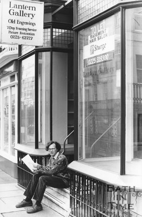 Phil Andrews outside the recently vacated Lantern Gallery, George Street, Bath, February 1977?