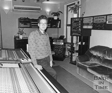 Owner Phil Andrews in his new 48 Track studio at Moles Club, George Street, Bath, January 1990