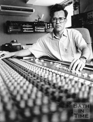 Owner Phil Andrews in his new 48 track mixing desk at Moles Club, George Street, Bath, June 1990