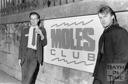 Owner Phil Andrews outside Moles Club, George Street, Bath, May 1989