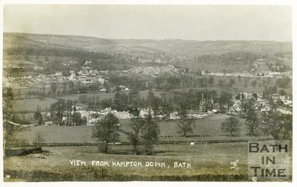 View from Hampton Down  of Bathampton and Batheaston, Bath, 1906
