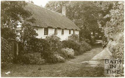 Old cottages near Gallox Bridge, Dunster, Somerset, c.1910
