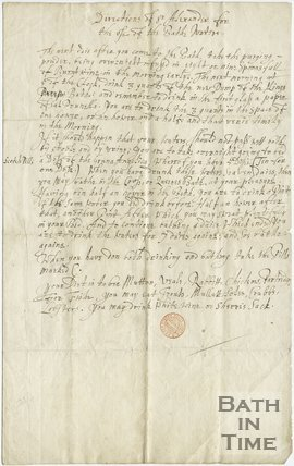 Directions concerning the drinking of Bath Waters by Sir Alexander Fraser, 1675