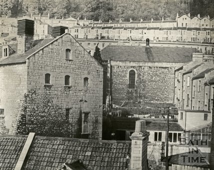 Walcot Brewery and side of Thomas Street Chapel, Bath, November 1965