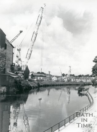 Testing new cranes at Stothert and Pitt's Newark Works, Bath, June 1981