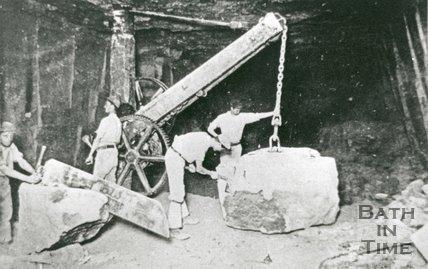 Inside Sumsion's Monks Park Quarry, Corsham, 1902