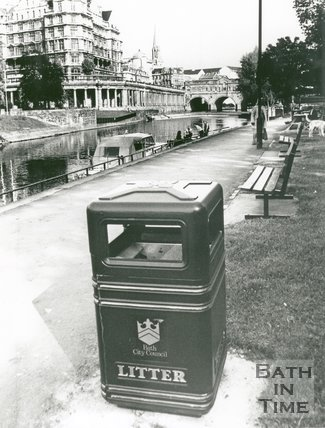 New Litter Bin, next to the River Avon by Pulteney Bridge, Bath, 1992