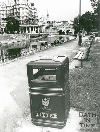 New Litter Bin, next to the River Avon by Pulteney Bridge, Bath, 1992
