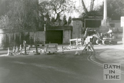 Roadwork's at Bath's War Memorial, Queens Parade, Bath, 1989