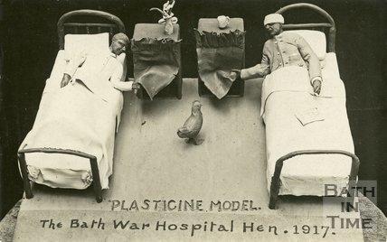 Postcard of Plasticine model of the Bath War Hospital, Combe Park, 1917