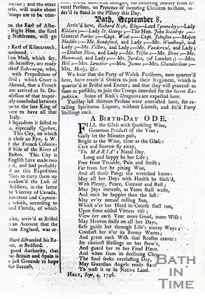 Bath Journal Monday September 10th, 1746