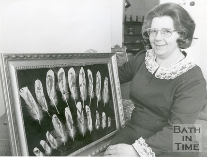 Lilian Lowe with Feather Paintings, 1992