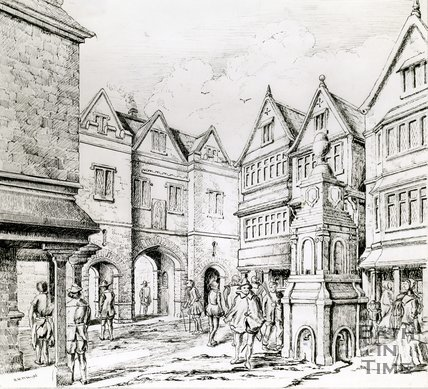 Drawing of the North Gate and St. Michaels Conduit, Bath