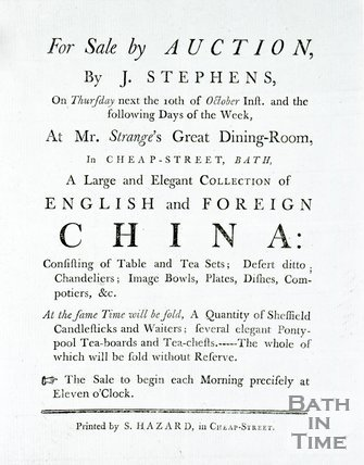Auction details for the sale of a large and elegant collection of English and foreign China in Bath, c.1790s?