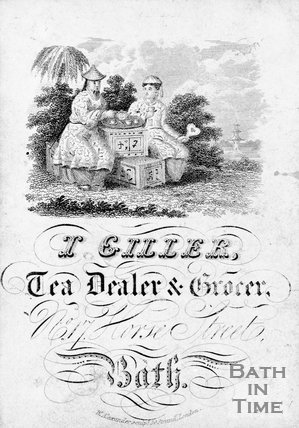 Trade advertisement for I Giller, Tea Dealer and Grocer, No 17 Horse Street, Bath, c.1760s?