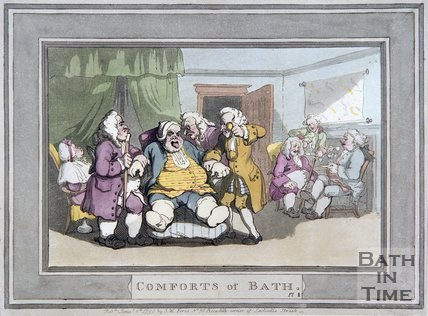 The Comforts of Bath by Thomas Rowlandson, Plate 1, 1798