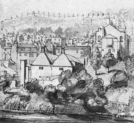 Copy of a pen and wash view of Walcot Gate, Brewery and Camden Crescent, c.1930s?
