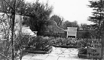 The terrace in the back garden of the Priory, Weston Lane, Bath, c.1910