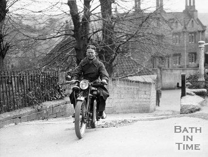A test rider on an HRD Series P prototype motorcycle at Southstoke, c.1935