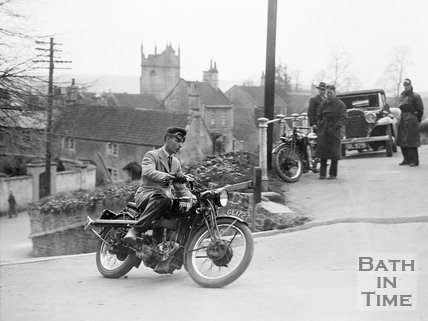 Ted Cross on an HRD Series P prototype motorcycle at Southstoke, c.1935
