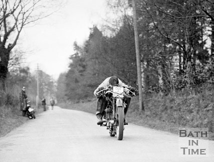 Road testing the Cross rotary valve Rudge motorcycle, Hinton Charterhouse, nr Bath, c.1935