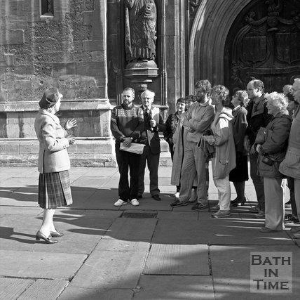A Bath Tour Guide outside Bath Abbey, c.1989