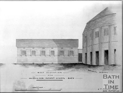 Proposed west elevation of the new infant school, Bath, 1843