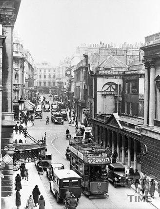 A tram on Stall Street, Bath, c.1930s