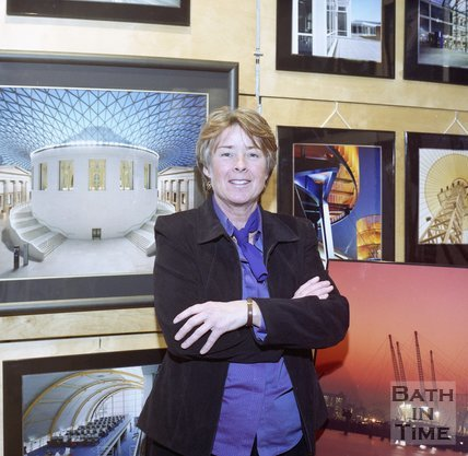 Photographer Mandy Reynolds at her exhibition at the Architectural Centre, 23 November 2002