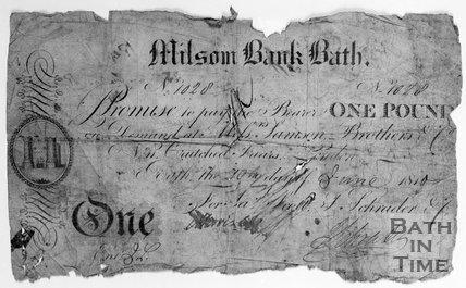 Copy of a one Pound cheque from Milsom Bank, Bath, June 1810