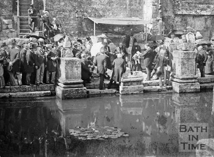 An unknown civic ceremony at the Roman Great Bath, Bath, c.1880s