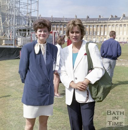 Dame Kiri te Kanawa on the lawn in front of the Royal Crescent, Bath, September 1993