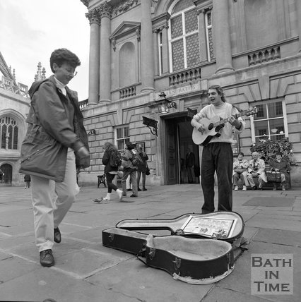 A busker in Abbey Church Yard, Bath, c.1990
