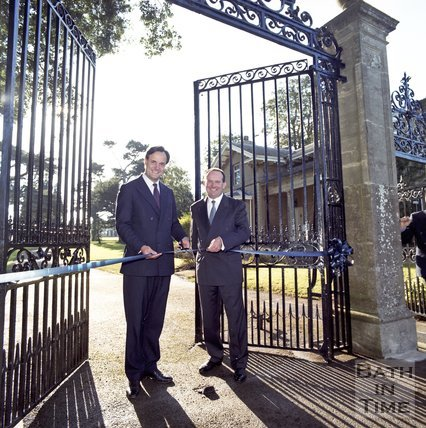 North Wiltshire MP James Gray and local entrepreneur Jeffrey Thomas Opening the Hartham Park Business centre, 1997
