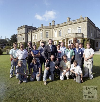 Local entrepreneur Jeffrey Thomas and the craftsmen that helped renovate Hartham Park, Wiltshire, 1997